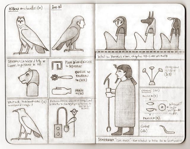 Carnet de voyage hiéroglyphique pages 12 et 13