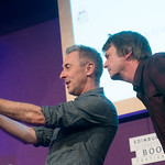 Alan Cumming and Ian Rankin selfie | Alan Cumming gets a selfie with his Chair Ian Rankin at the Book Festival © Alan McCredie