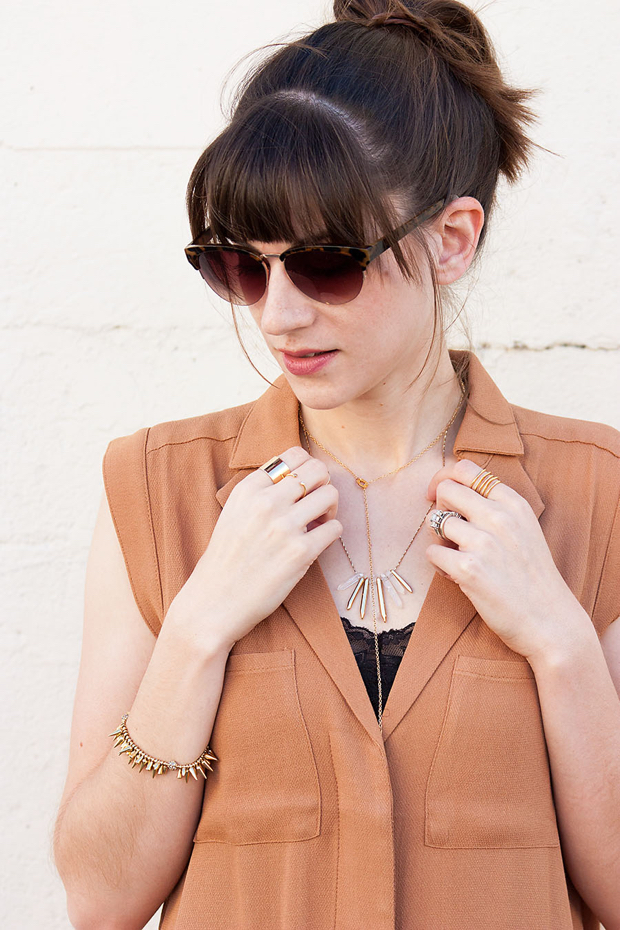 Gold Jewelry, Gold Rings, Layered Necklaces, Gorjana, Fall Shirtdress