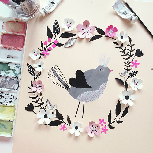 Paper Flower Wreath with Painted Bird by Hanna Nyman