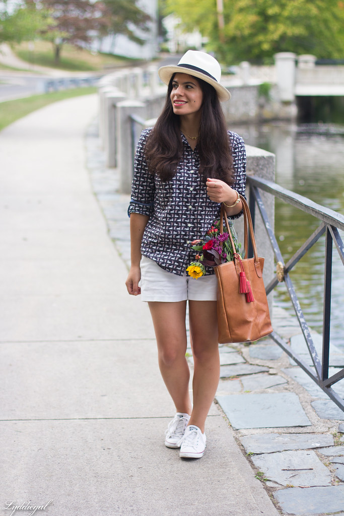 swan print shirt, white shorts, panama hat, converse-2.jpg