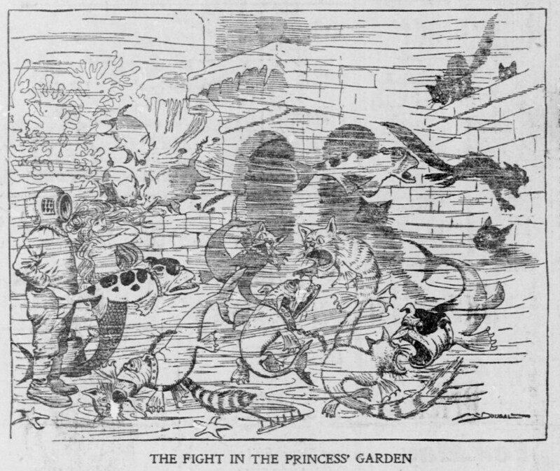 Walt McDougall - The Salt Lake herald., March 23, 1902, The Fight In The Princess Garden
