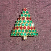 Vintage Christmas Tree Brooch / Pin - Rows of Red and Green Rhinestones