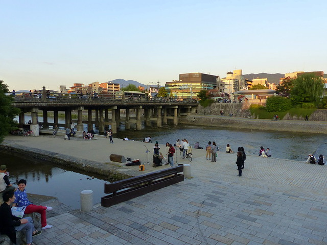 Along the Kamogawa as sunset approaches