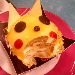 Silently screaming Pikachu dessert as it gets consumed