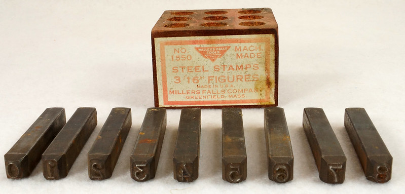 RD14695 Millers Falls 3-16th inch Figures Steel Number Punch Stamps Set No 1550 USA DSC06516