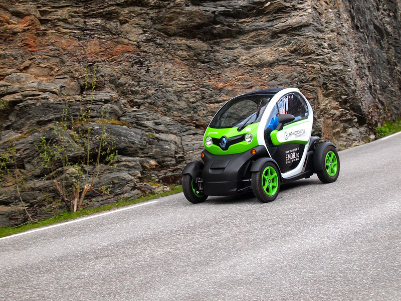 Driving a Twizy electric car in Geiranger, Norway