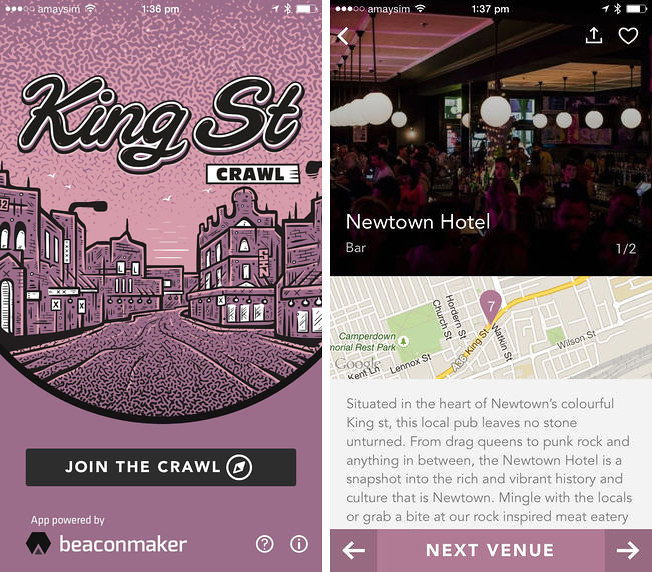 King Street Crawl / iOS App Screenshots