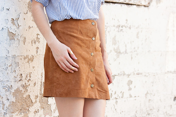 Suede Button Front Skirt, 70's style skirt, Wanderlust and Co gold rings