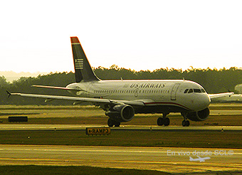 US Airways A320 sunset (E.Moura)