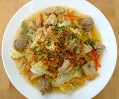 CHICKEN-NOODLE SOUP WITH SPICY SAUSAGE AND NAPA CABBAGE