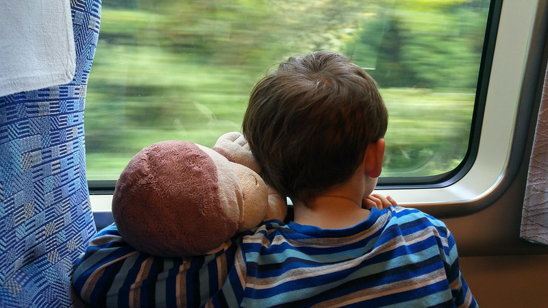 On the train with Monkey George