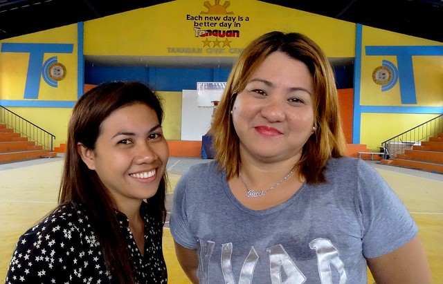 Sheree Ann Y. Bayadog of Tanauan School of Craftsmanship and Home Industries (TSCHI) with Tanauan resident Mary Ann N. Abarracoso