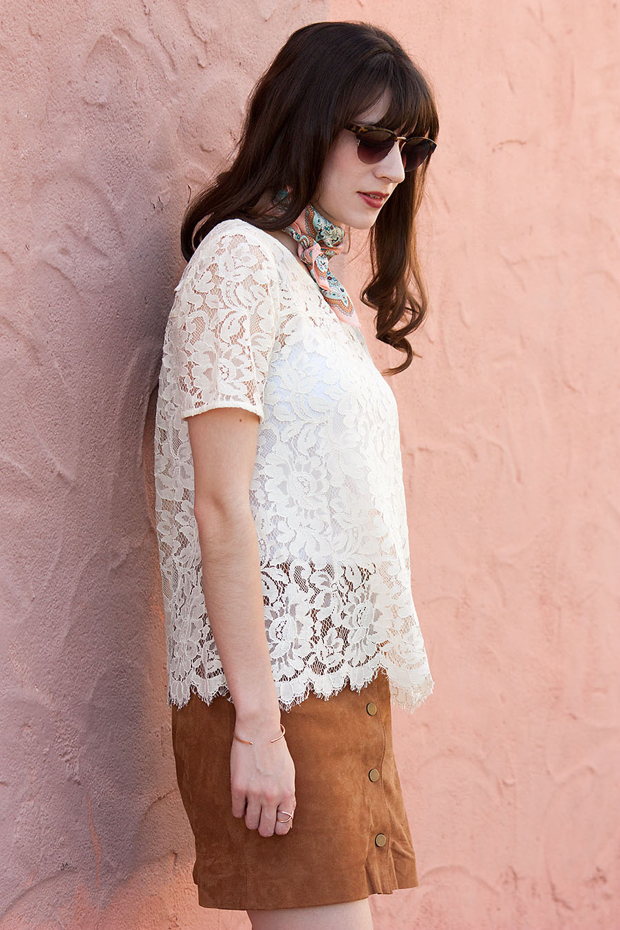 Suede Skirt, White Lace Tee
