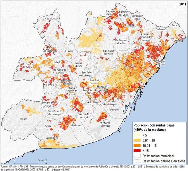 Població amb rendes baixes segons secció censal. Àrea metropolitana de Barcelona, 2011