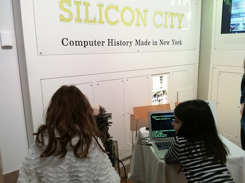 Young teletype operators at NYHS exhibit