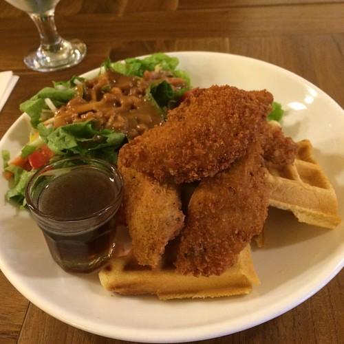 Vegan chicken and waffles #yegfood