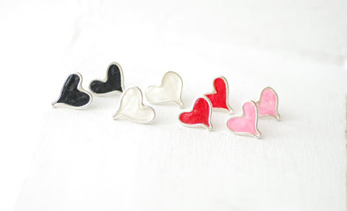 Abstract Heart Stud Earrings