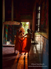 Monks, robes, and late afternoon light at Kampong Phluk, Siem Reap, Cambodia