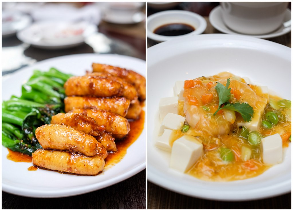 Szechuan Court & Kitchen: crabmeat chicken roll with chef's BBQ sauce & beancurd dish with crabmeat, prawn and edamame