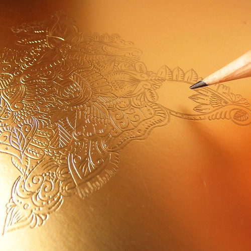 Paper Artist Collective - Gold Foil Flower - Detail by Nico Ng