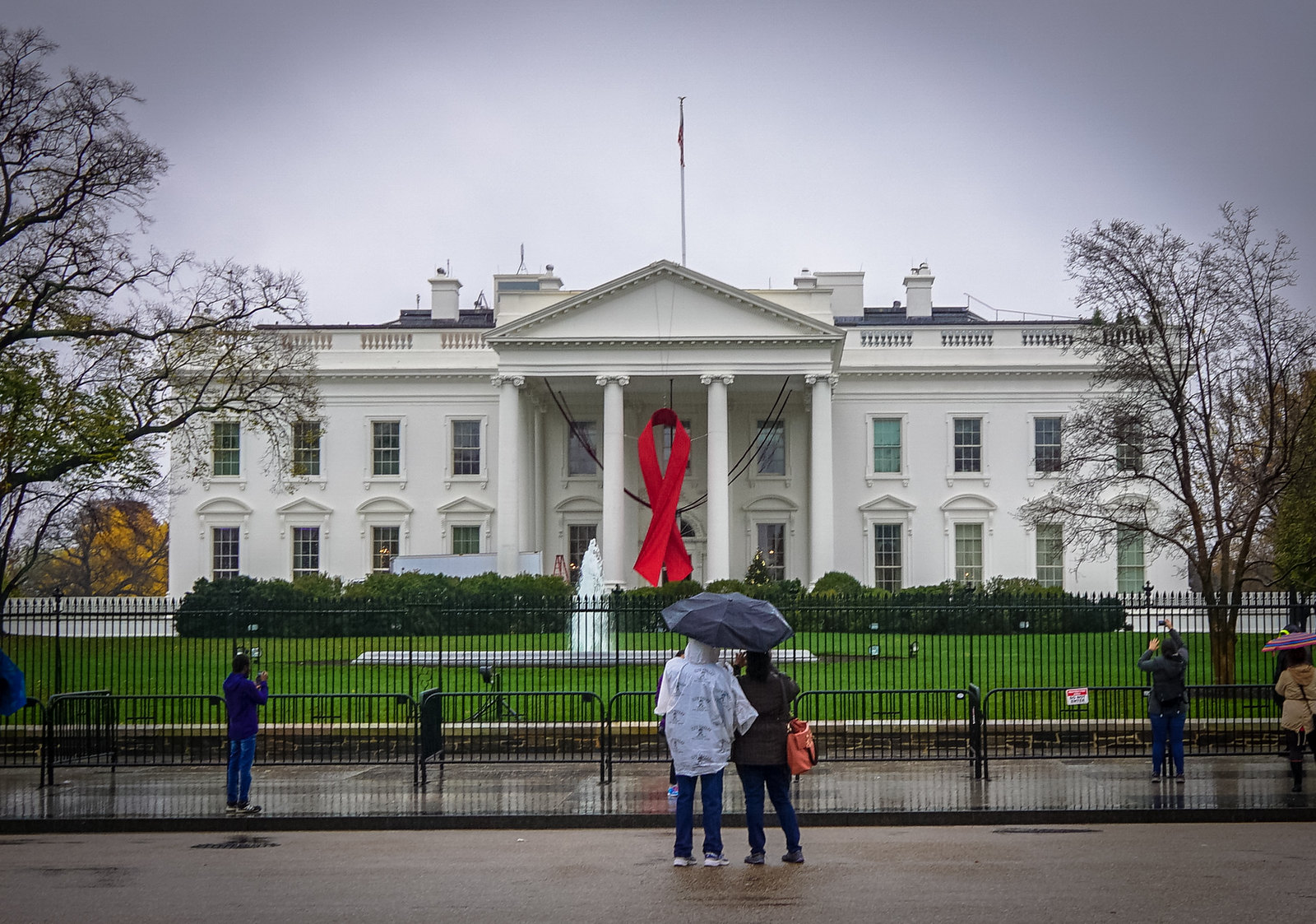 2015 World AIDS Day - Red Ribbon on White House - Washington DC USA 00410