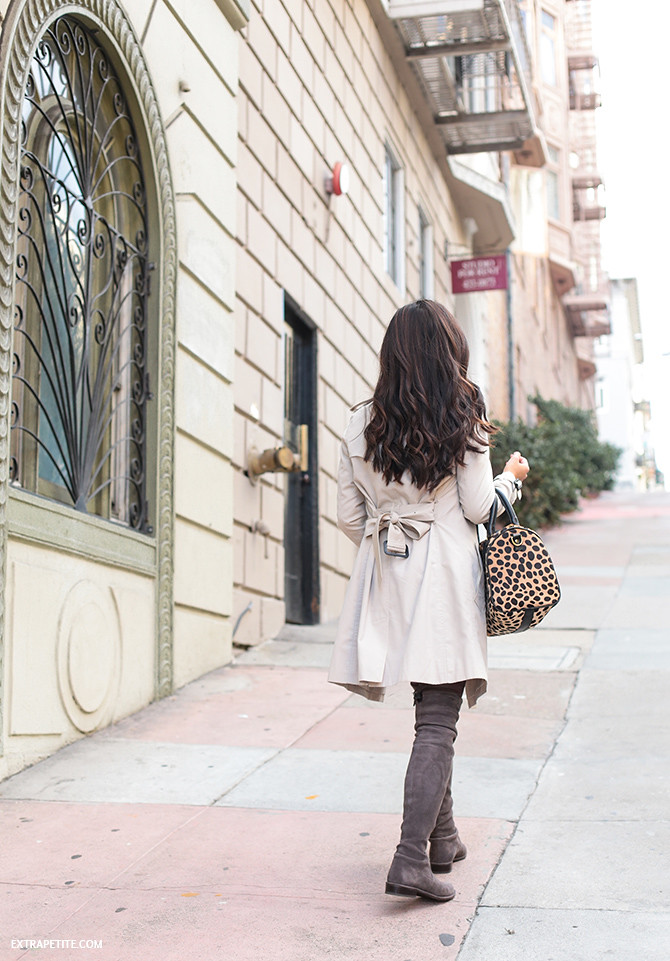 san francisco outfit - trench coat stuart weitzman boots