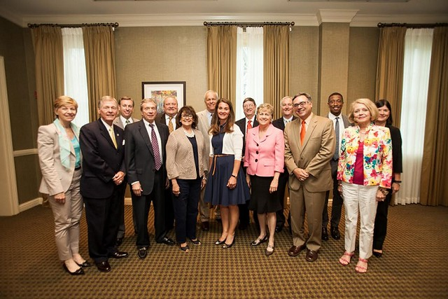 Dr. Robert Rescigno, Dean of the Wilmington University College of Business (front row, second from right) poses with other members of the Southern Regional Education Board when they met with Melinda Gates (front row, fourth from right) at the organization's meeting in July 2014.