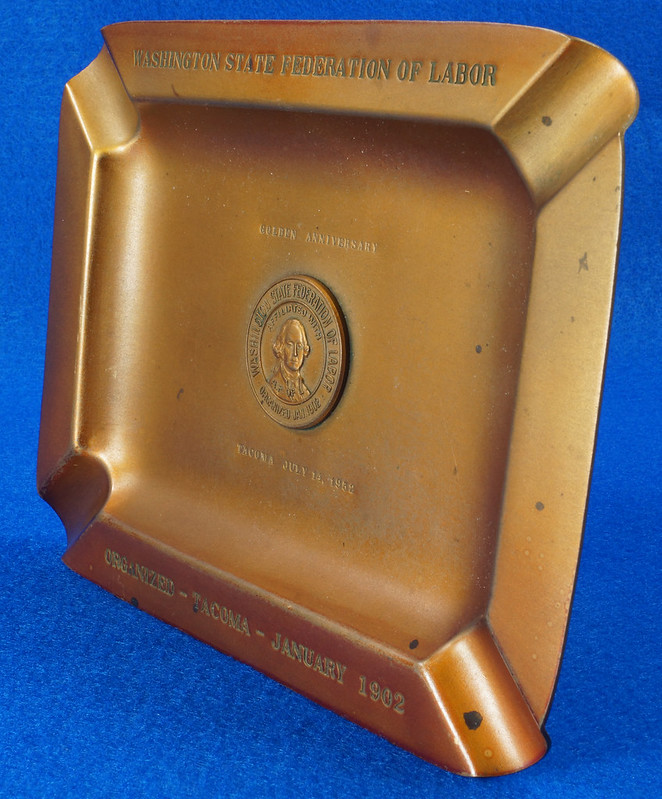 RD14480 1952 Brass Ashtray Washington State Federation of Labor Tacoma Union Made DSC06152