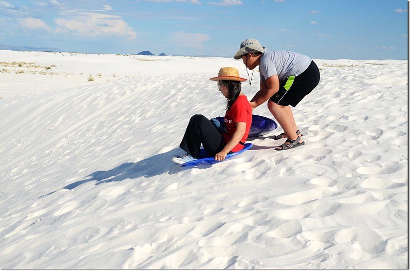 Sledding at White Sands National Monument 3