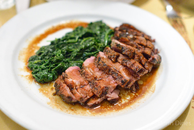 Farm Raised Sonoma County Liberty Breast of Duck, spinach, aged balsamic vinegar