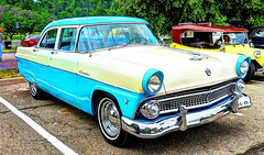 automobile, automotive exterior, 1955 ford, vehicle, compact car, ford, antique car, sedan, vintage car, land vehicle, luxury vehicle,