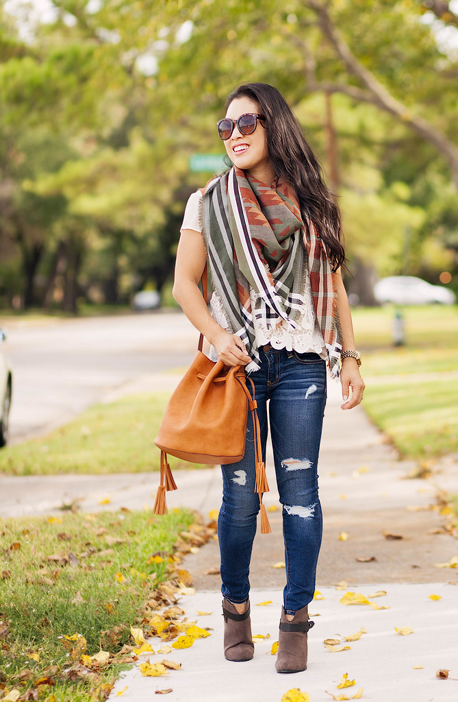 9c1b151185c Fall Blanket Scarf + Tassel Bucket Bag - cute & little | Dallas ...