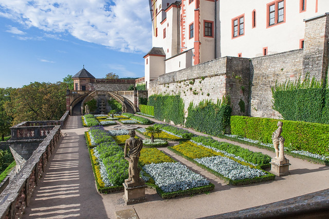 Marienberg Fortress Garden. Würzburg, Franconia region of Bavaria, Germany