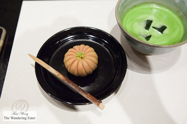 Chrysanthemum shaped namagashi with my iced matcha tea
