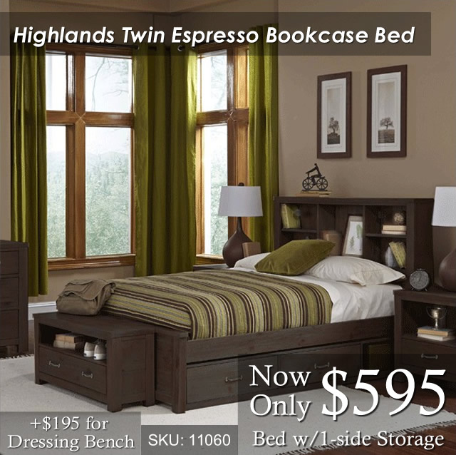 Highlands Twin Bookcase Espresso
