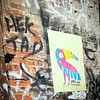 Toucan + flamingo = toumingo? #brolga @brolga_ #wheatpaste #pasteup #hektad #graffiti #StreetArt #urbanart #Williamsburg #Brooklyn #NYC
