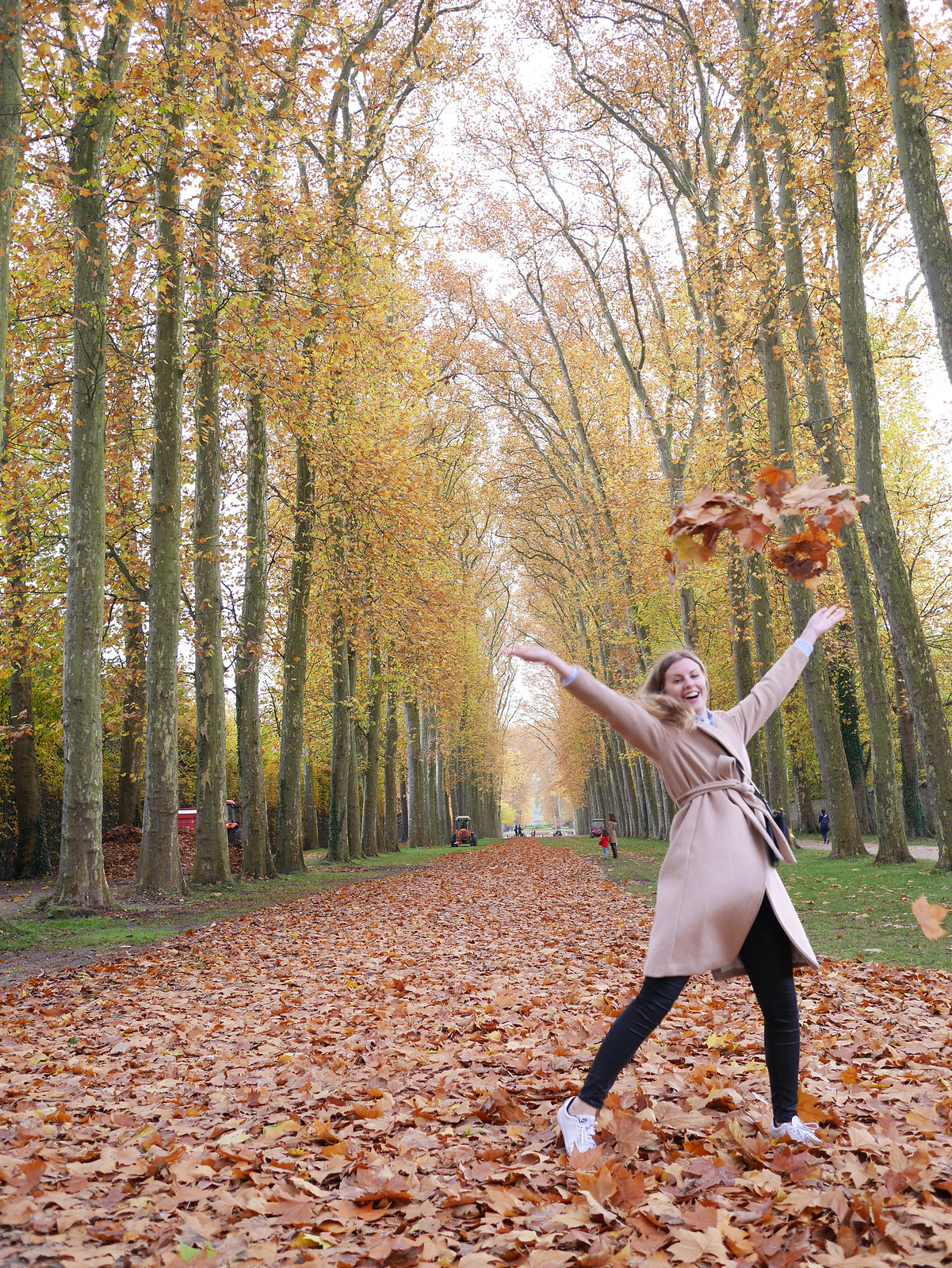 Autumn leaf jump