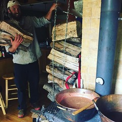 apple butter double copper barrel downeast style -- with a call out to the crew at owl and bear tree works! woodfired multimix