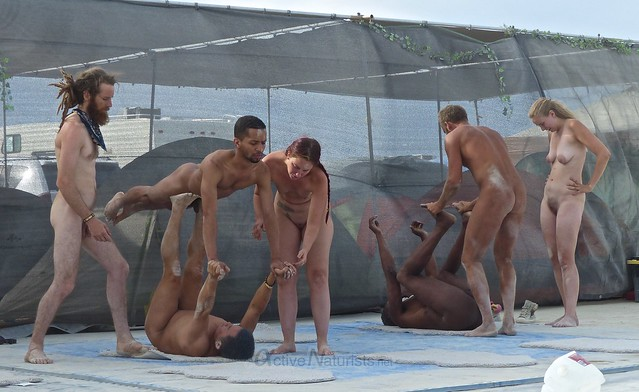 naturist acro-yoga camp Gymnasium 0002 Burning Man, Black Rock City, NV, USA
