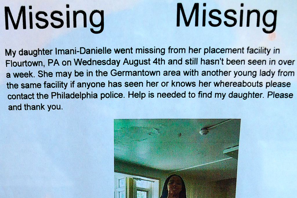 Missing person flyer for Imani-Danielle--Center City (detail)