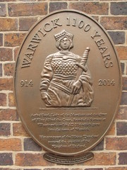 Photo of Aethelflaed and Warwick bronze plaque