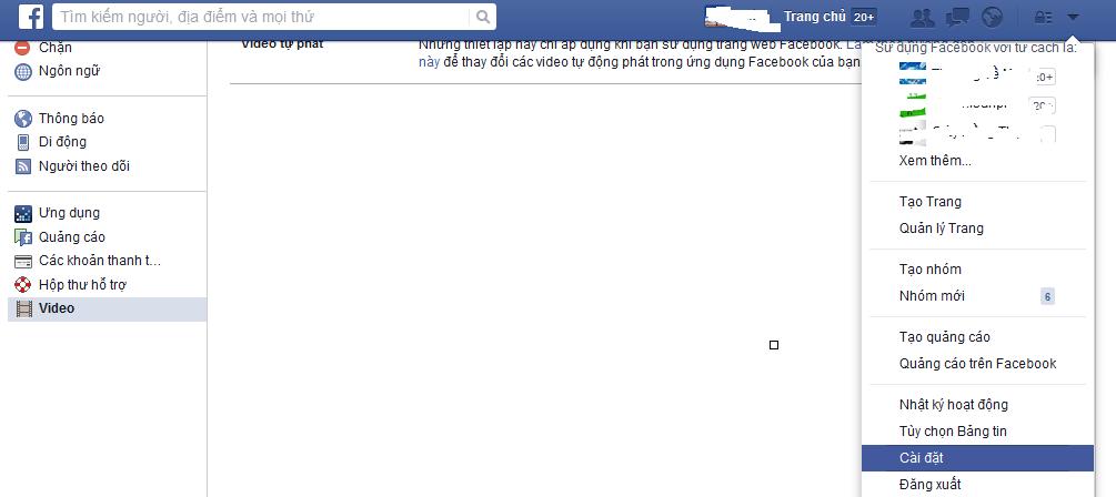 tắt tự động phát video trên facebook