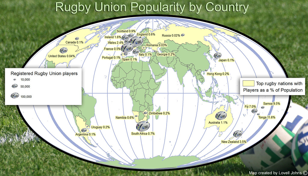Rugby Union Popularity By Country
