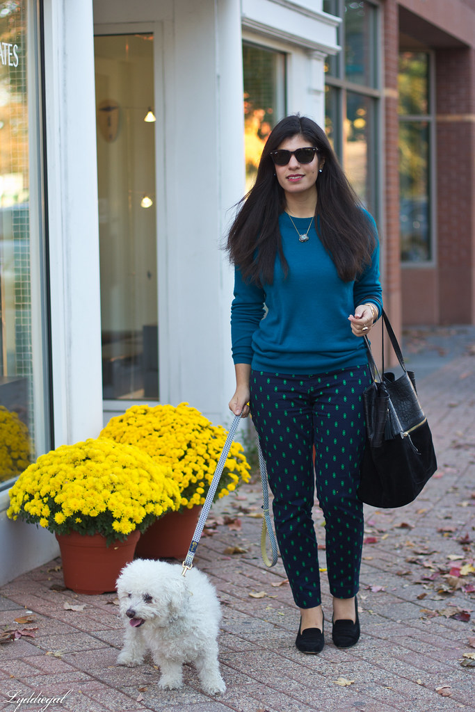 teal sweater, printed pants, ferragamo pumps.jpg