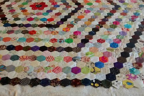 Quilt basting in progress