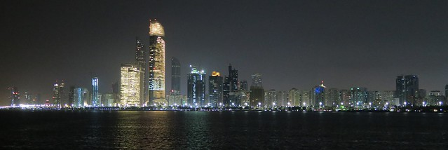 abu dhabi skyline from marina at night