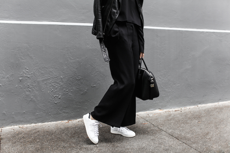 Adidas Stan Smith, black, off duty street style, BLK DNM leather biker jacket, Givenchy Antigona medium bag, fashion blogger, modern legacy