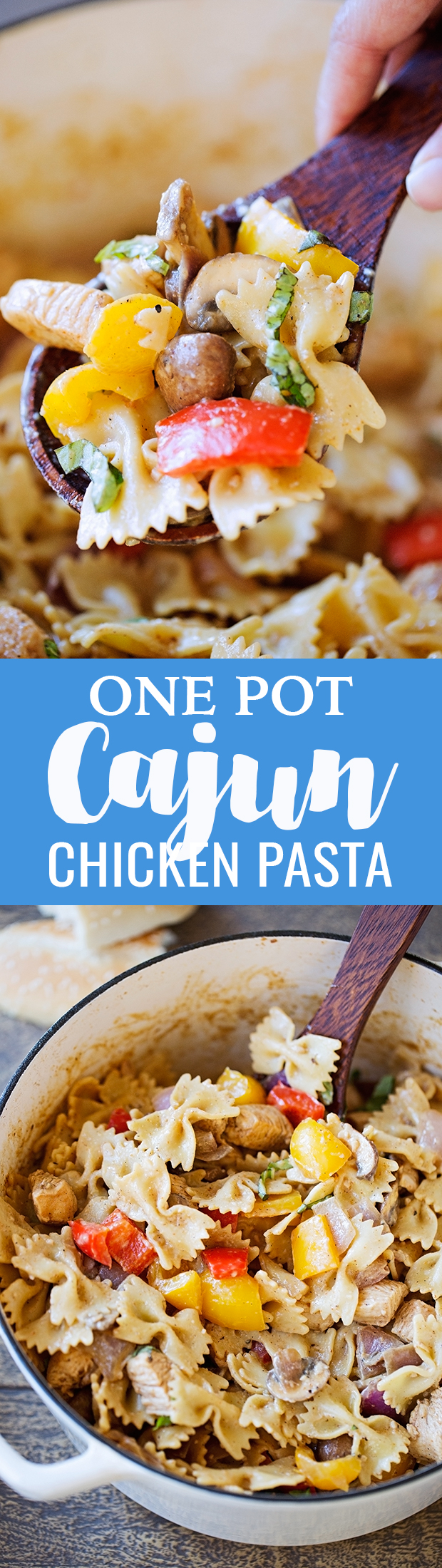 One Pot Creamy Cajun Chicken Pasta - An easy one pot recipe for Louisiana Chicken Pasta. This recipe is simple and takes about 30 minutes to make! #lousianachickenpasta #cajunchickenpasta #onepotdinners | Littlespicejar.com