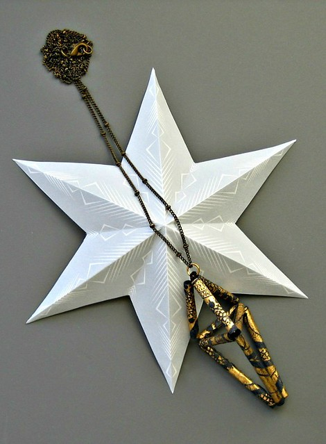 himmeli paper bugle bead pendant